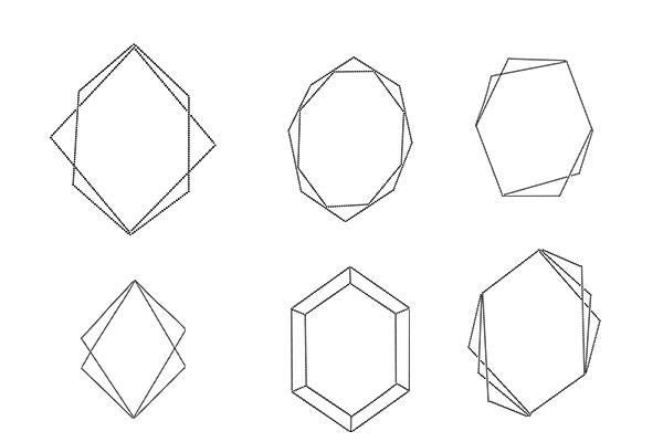 几何图形组合图案、各种菱形结构PS笔刷