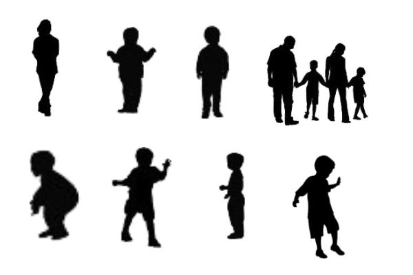 孩子、家庭剪影图形PS笔刷