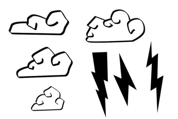 卡通闪电云朵图案PS笔刷