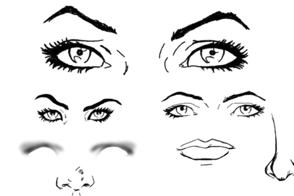 女性眼睛、嘴唇、等涂鸦PS笔刷