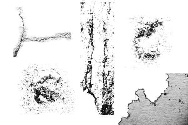 废旧痕迹、破损的墙壁纹理效果PS笔刷