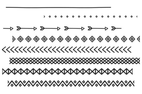 手绘可爱的箭头、查查、回纹等分割符号PS笔刷