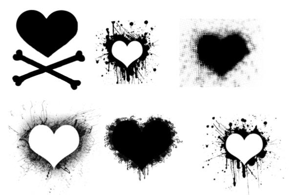 手绘涂鸦爱心、心形图案PS笔刷