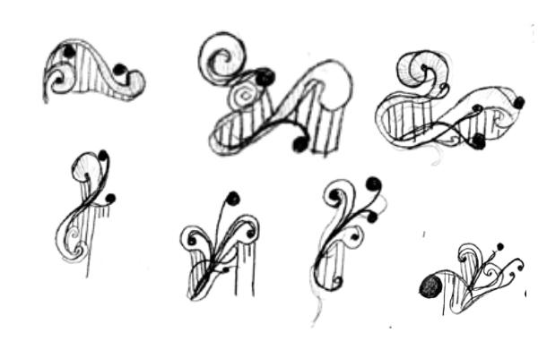 手绘音符式印花、花纹图案PS笔刷