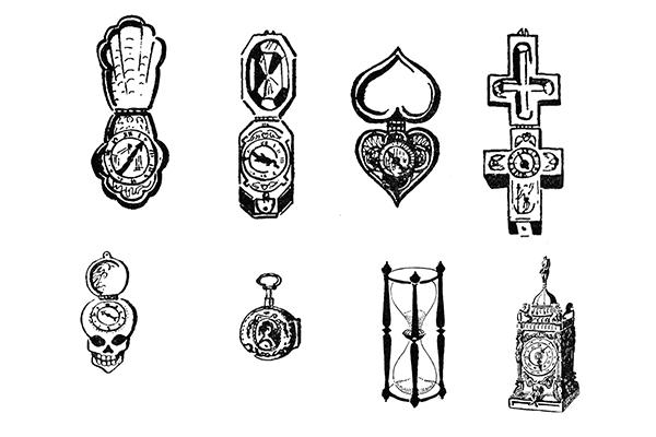 欧式旧钟、中古钟版刻图案PS笔刷