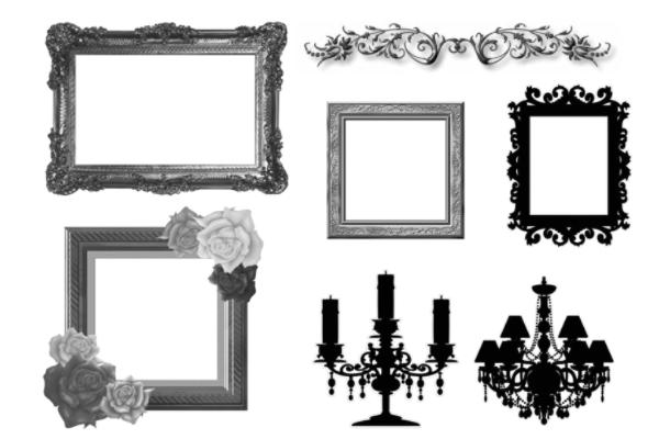 欧式相框、画框、木制雕刻边框PS笔刷