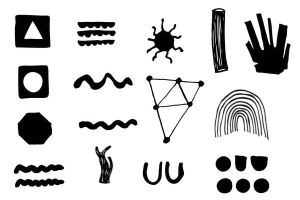 童趣涂鸦太阳、树、线条、花朵、五角星等PS笔刷
