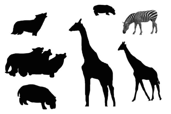 长颈鹿、斑马等动物剪影PS笔刷