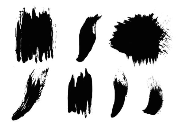 油墨刷子、油漆笔触纹理PS笔刷