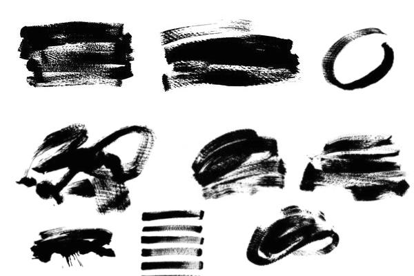 毛笔、油漆刷子、画笔涂痕纹理PS笔刷