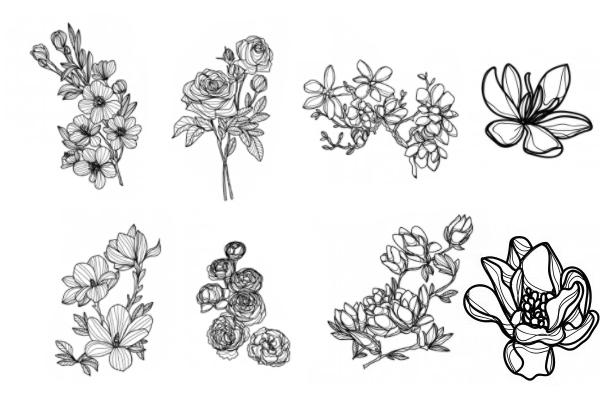 框式鲜花图案、花朵纹理PS笔刷