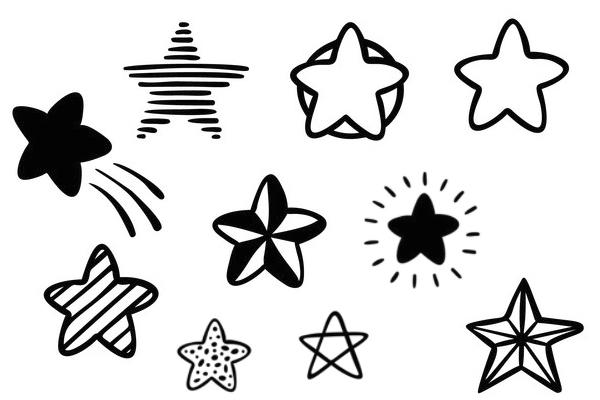 涂鸦五角星、闪光星星图案PS笔刷