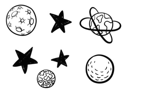 手绘卡通星球、五角星图案PS笔刷