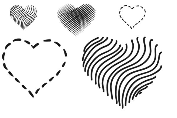 非主流爱心、心形图案效果PS笔刷