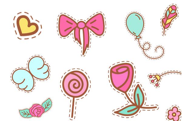 糖果、花朵、爱心、纸杯蛋糕等元素PS笔刷(PNG格式)