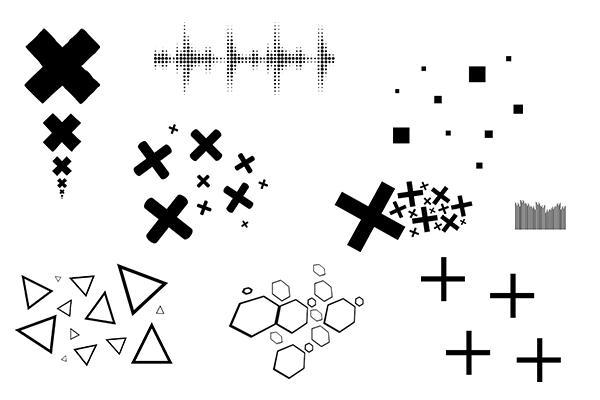 正方形符号、三角形背景装饰PS笔刷(PNG格式)