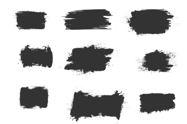 毛笔刷子方块造型涂痕PS笔刷