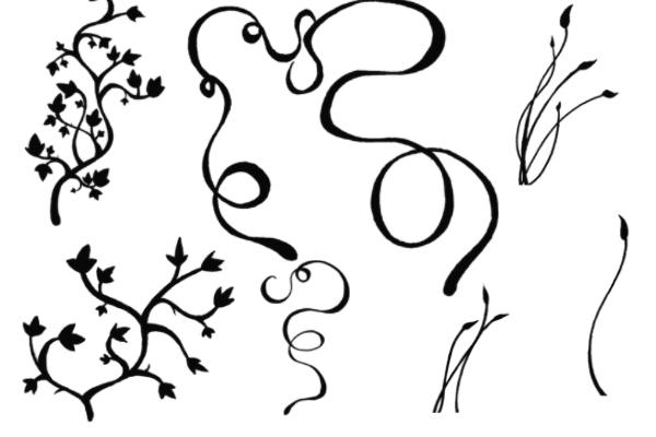 植物花纹图案、藤蔓式印花PS笔刷